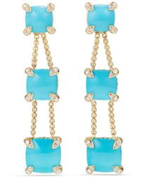 David Yurman - Châtelaine Linear Chain Earrings With Turquoise & Diamonds In 18k Gold - Lyst