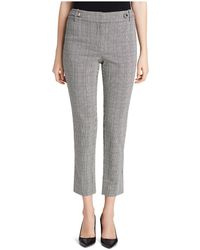 Calvin Klein Glen Plaid Straight Ankle Trousers - Grey