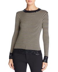 Donna Karan - New York Sequin-trimmed Stripe Jumper - Lyst