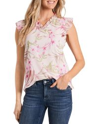 Cece Floral Print Ruffled Top - Pink