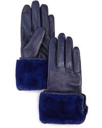 Echo Faux Fur - Cuff Leather Tech Gloves - Blue