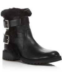 Charles David - Rustic Leather And Rabbit Fur Moto Booties - Lyst