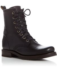 Frye Veronica Lace Up Combat Boots - Black