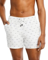 """Onia Charles 5"""" Embroidered Waves Swim Trunks - White"""