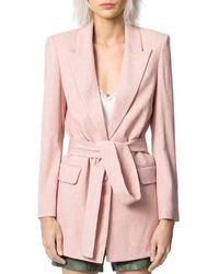 Zadig & Voltaire Vita Jacquard Belted Blazer - Pink