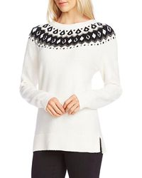 Vince Camuto Plus Size Fair Isle Knit Pullover Jumper - White