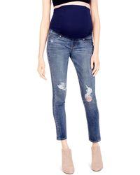 Ingrid & Isabel - Maternity Sasha Skinny Jeans In Distressed - Lyst