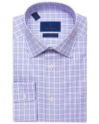 David Donahue Gingham Luxury Non Iron Trim Fit Dress Shirt - Purple