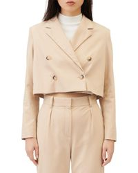 Maje Vakin Double Breasted Cropped Suit Jacket - Natural