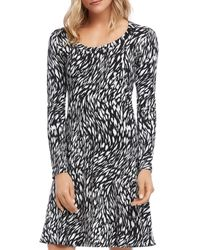 Karen Kane Printed Scoop - Neck Dress - Black