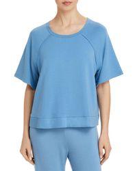 Eberjey Blair Meadow Cropped Short Sleeve Sweatshirt - Blue