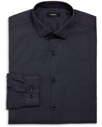 Theory Cedrick Zino Grid Print Dress Shirt - Blue