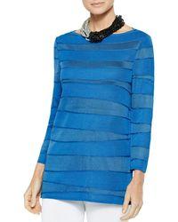 Misook Ocean Wave Knit Tunic - Blue