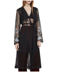 BCBGMAXAZRIA Embroidered Tulle Trench Coat - Black