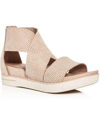 Eileen Fisher Perforated Crisscross Platform Sandals - Natural