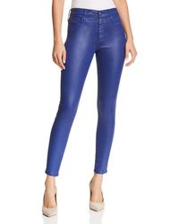 AG Jeans - Farrah Brushed-sateen Ankle Skinny Jeans In Leatherette Egyptian Blue - Lyst