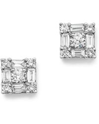 KC Designs - 14k White Gold Diamond Mosaic Stud Earrings - Lyst