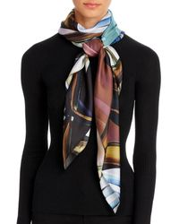 Echo Painted Tulip Silk Square Scarf - Blue