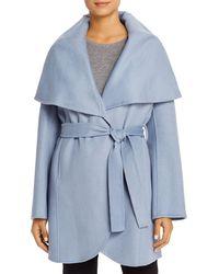T Tahari Marla Belted Wrap Coat - Blue