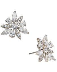 Nadri Cubic Zirconia Flower Stud Earrings - Metallic