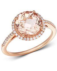 Meira T 14k Rose Gold Morganite & Diamond Ring - Metallic