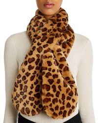 Echo Faux - Fur Animal - Print Pull - Through Scarf - Brown