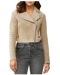 SOIA & KYO Elaine Cropped Suede Jacket In Almond - Multicolour