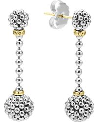 Lagos - Sterling Silver Caviar Beaded Drop Earrings With 18k Gold - Lyst