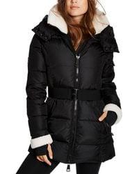 Sam. Courtney Shearling Trim Hooded Puffer Coat - Black