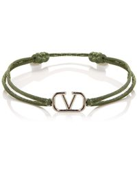 Valentino Garavani Logo Cord Bracelet - Green