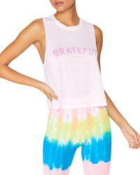 Spiritual Gangster Grateful Active Crop Tank Top - White