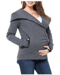 Nom Maternity Rainier Fleece Lined Zip Hoodie - Grey