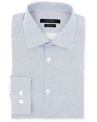 John Varvatos Trim Fit Wrinkle Resistant Print Dress Shirt - Blue