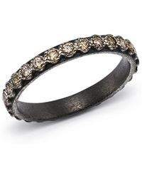 Armenta - Blackened Sterling Silver Old World Diamond Stacking Ring - Lyst