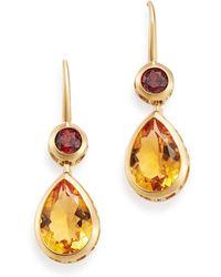 Bloomingdale's Citrine & Garnet Drop Earrings In 14k Yellow Gold - Metallic