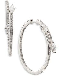 Nadri Leah Large Bypass Hoop Earrings - Metallic