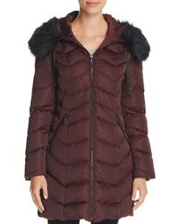 T Tahari Gwen Faux Fur Trim Quilted Puffer Coat - Multicolour