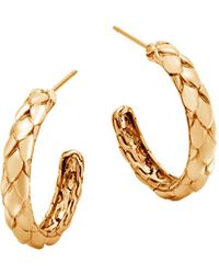 John Hardy - 18k Yellow Gold Legends Cobra Small Hoop Earrings - Lyst