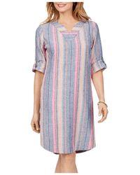 Foxcroft Harmony Beachcomber Dobby Stripe Dress - Purple