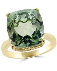 Bloomingdale's Prasiolite Cushion And Diamond Ring In 14k Yellow Gold - Green