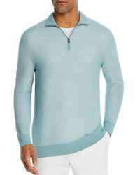 Bloomingdale's Cotton Textured Half - Zip Jumper - Blue