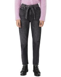 Maje Pariobelt High - Waisted Jeans With Diamante Belt In Anthracite - Multicolour