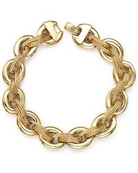 Bloomingdale's 14k Yellow Gold Link Bracelet With Textured Interweave - Metallic