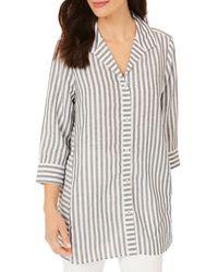 Foxcroft Soraya Striped Tunic Top - Black