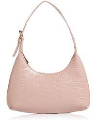 Aqua Croc - Embossed Mini Hobo Bag - Pink