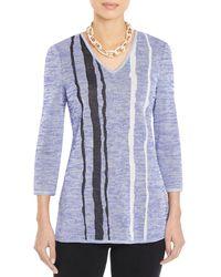 Misook Wavy Striped Knit Tunic - Blue