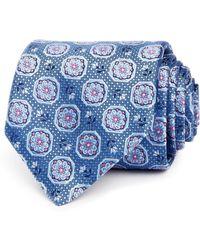 Canali Florette Octagon Silk Classic Tie - Blue