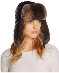 Crown Cap - Lambskin And Rabbit Fur Aviator Hat - Lyst