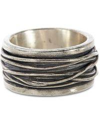John Varvatos Sterling Silver Wide Woven Ring - Metallic