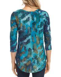 Karen Kane Tie Dyed Burnout Shirt - Blue